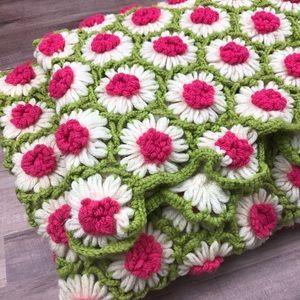 Vintage Crochet Floral Afghan Pink & Green